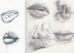 Фото губы человека карандашом