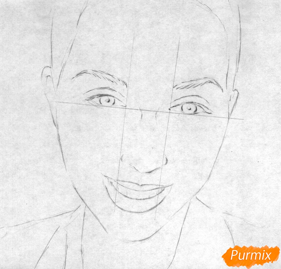Как нарисовать портрет Кати Клэп карандашом поэтапно - шаг 1