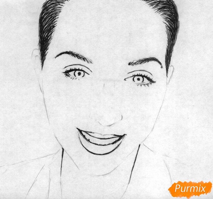 Как нарисовать портрет Кати Клэп карандашом поэтапно - шаг 2