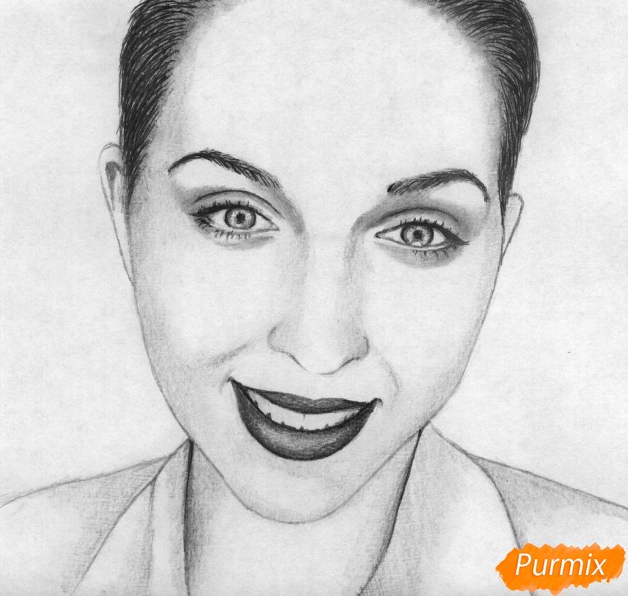 Как нарисовать портрет Кати Клэп карандашом поэтапно
