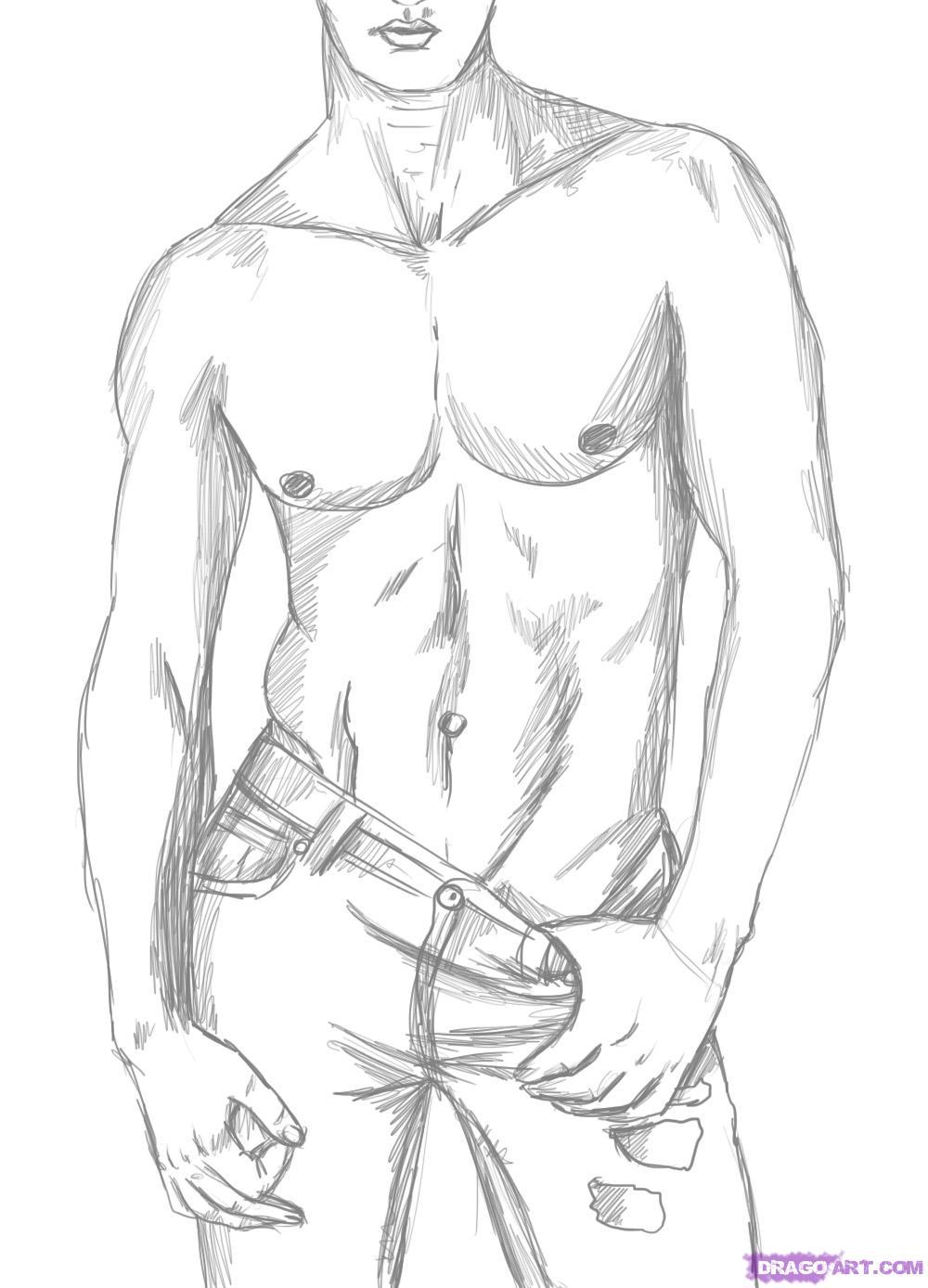 Как нарисовать красивое тело мужчины карандашом поэтапно