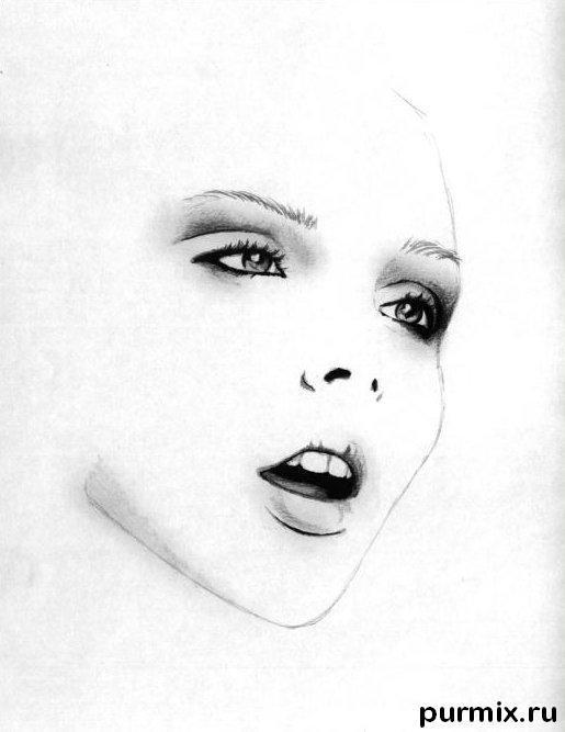 Рисуем лицо девушки простым