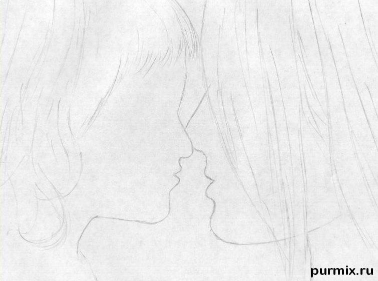 Рисуем маму с дочкой простым