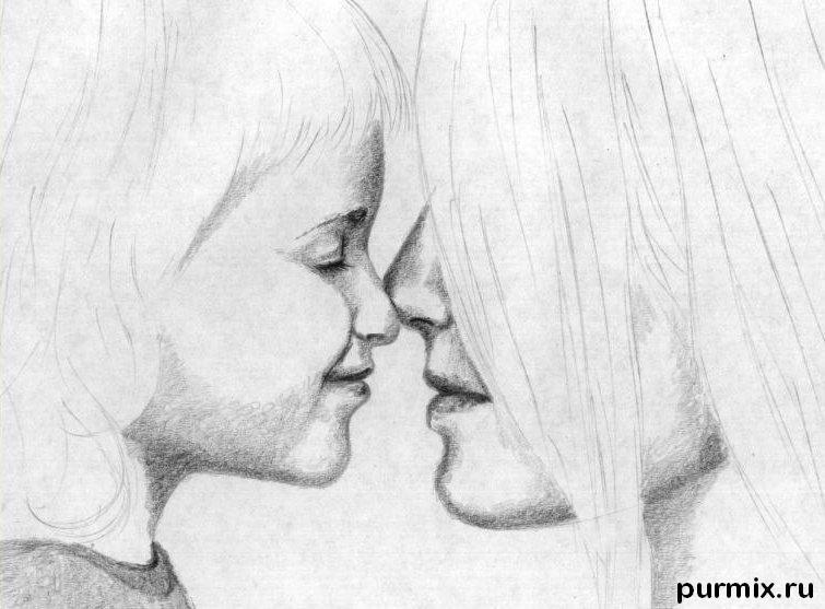 Рисуем маму с дочкой простым - фото 4