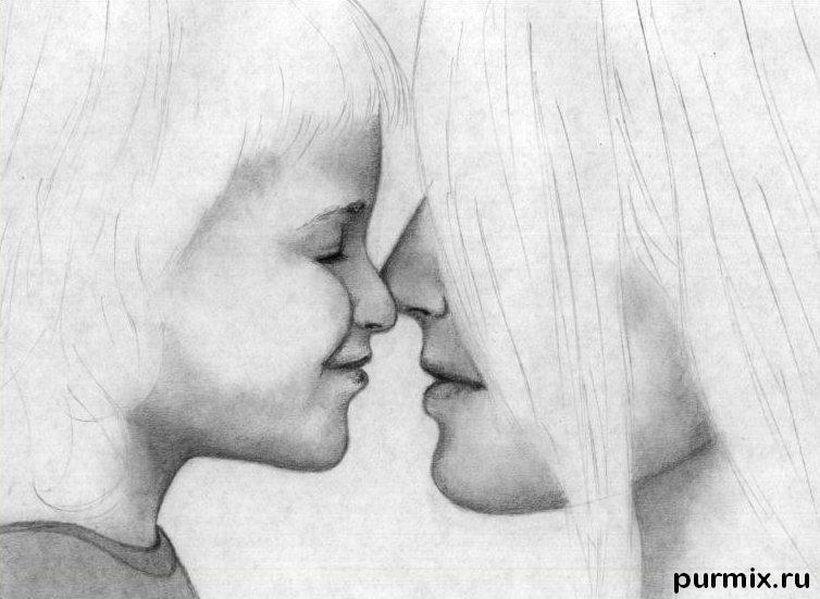 Рисуем маму с дочкой простым - фото 5