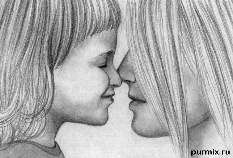 Рисуем маму с дочкой простым - фото 6