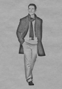 мужчину в пальто карандашом на бумаге