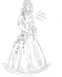 невесту в свадебном платье  карандашом