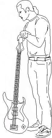 парня с гитарой в полный рост карандашом