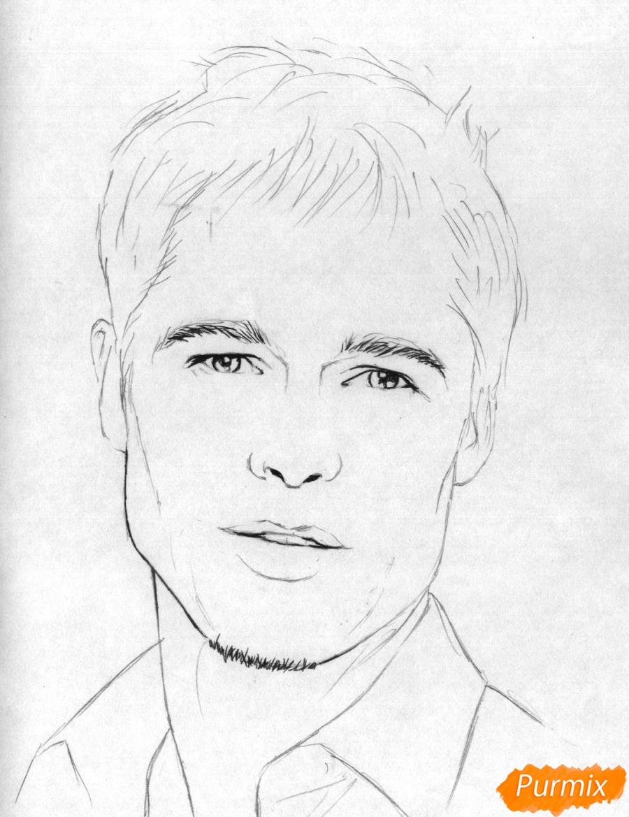 Рисуем портрет Брэда Питта карандашами - шаг 2