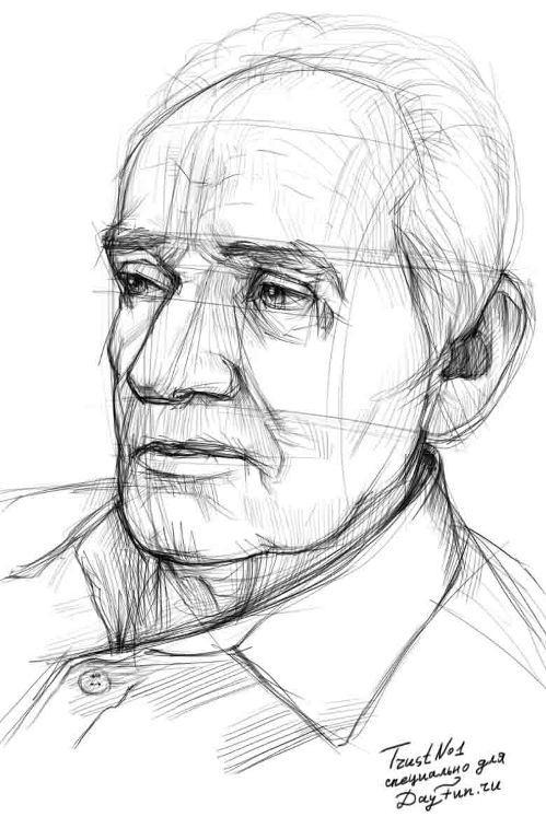 Рисуем портрет дедушку