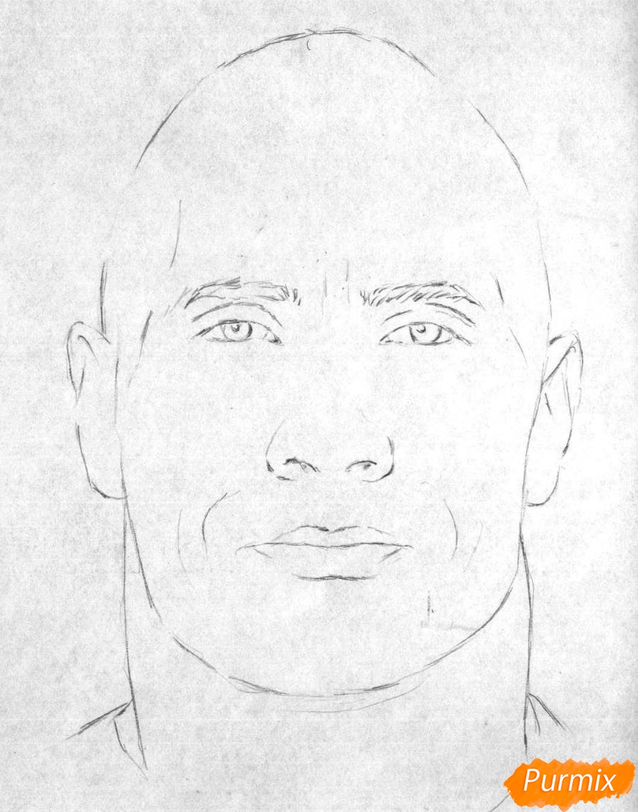 Рисуем портрет Дуэйн Джонсон карандашами и чёрной ручкой - шаг 1