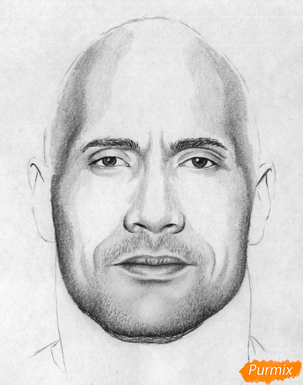 Рисуем портрет Дуэйн Джонсон карандашами и чёрной ручкой - фото 4