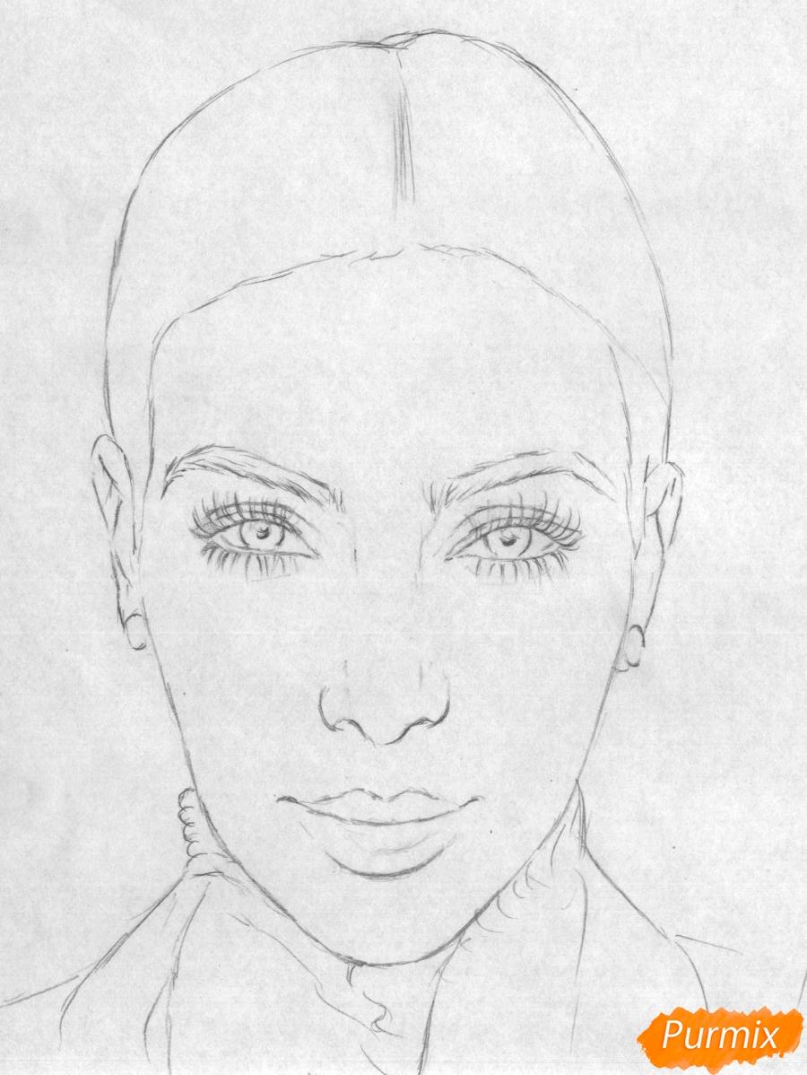 Рисуем портрет Ким Кардашян карандашами и черной ручкой - шаг 1