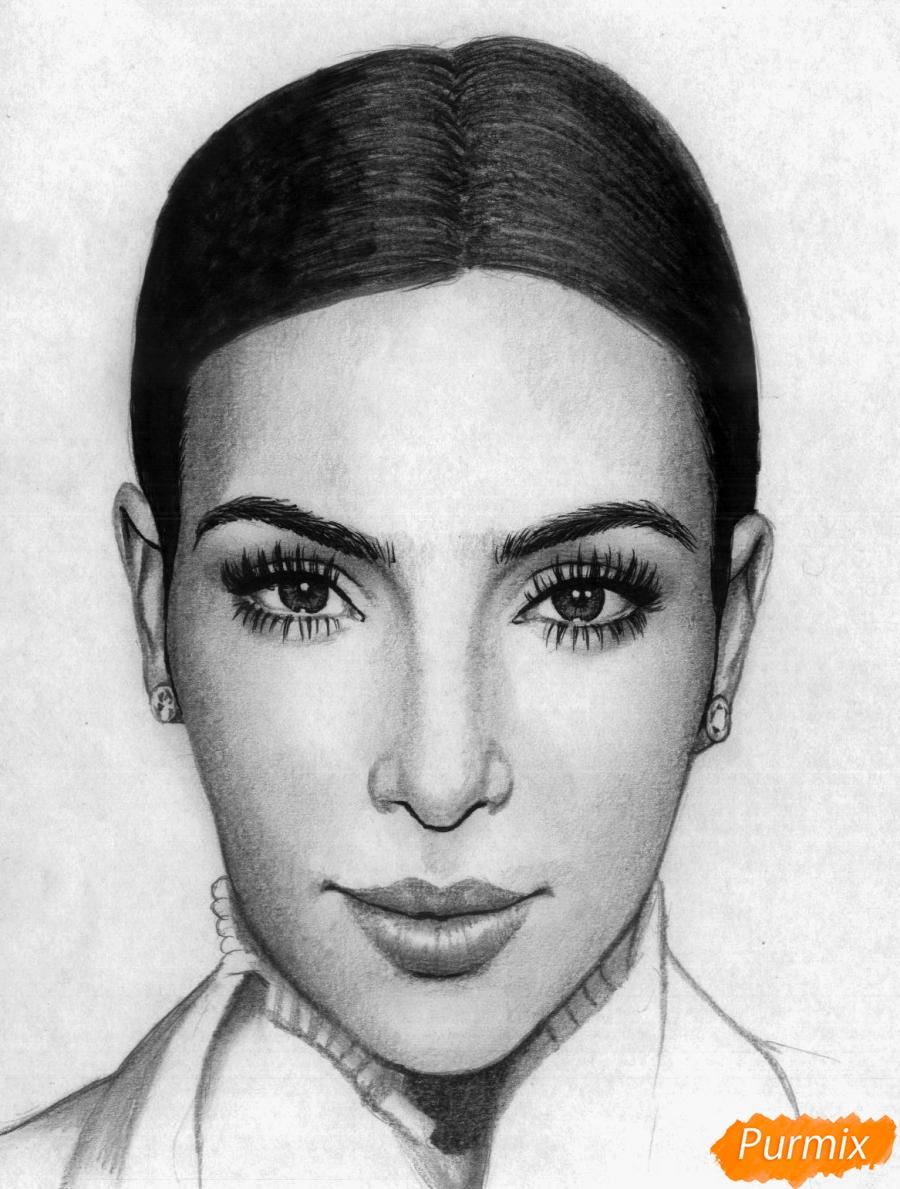 Как нарисовать портрет Ким Кардашян карандашами и черной ручкой поэтапно