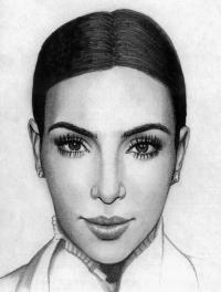 Фото портрет Ким Кардашян карандашами
