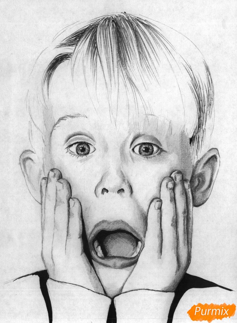 Рисуем портрет Маколея Калкина из фильма Один дома - шаг 5