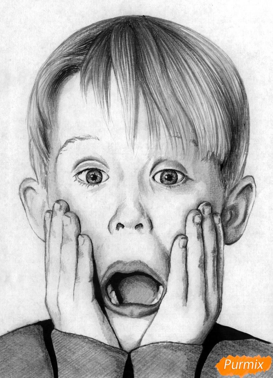 Как нарисовать портрет Маколея Калкина из фильма Один дома карандашом поэтапно