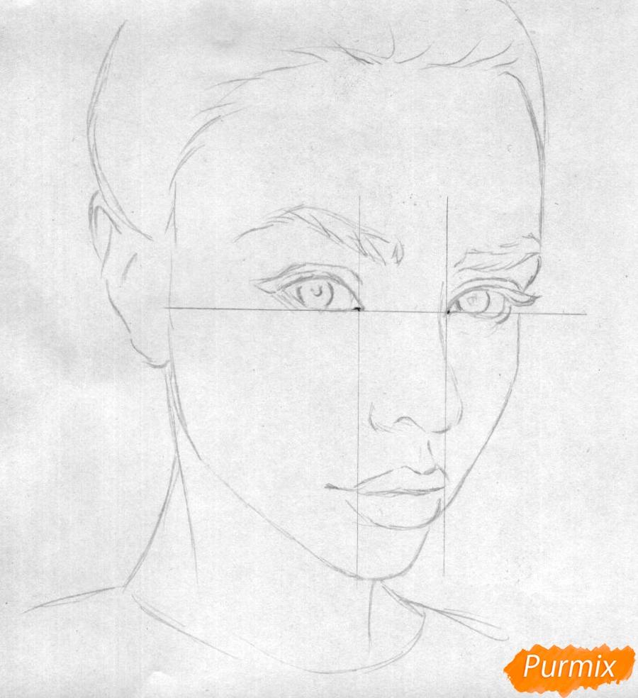 Как нарисовать портрет Маши Вэй карандашом поэтапно - шаг 1