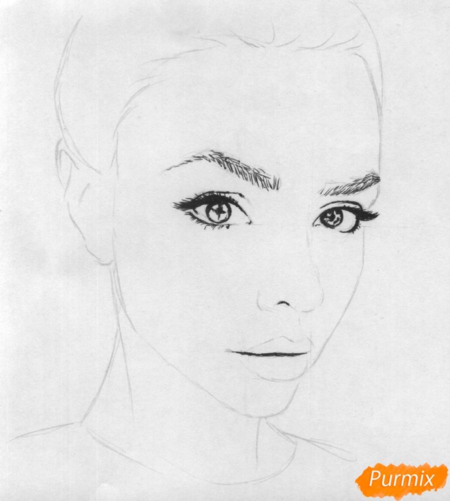 Как нарисовать портрет Маши Вэй карандашом поэтапно - шаг 2