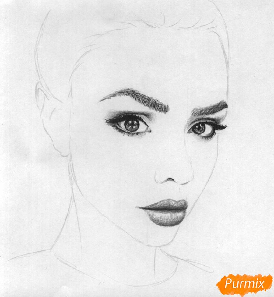 Как нарисовать портрет Маши Вэй карандашом поэтапно - шаг 3