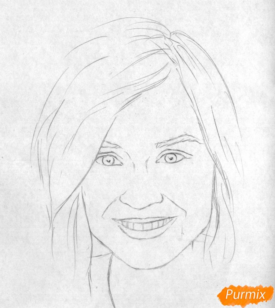 Рисуем портрет Полины Гагариной на бумаге - шаг 1