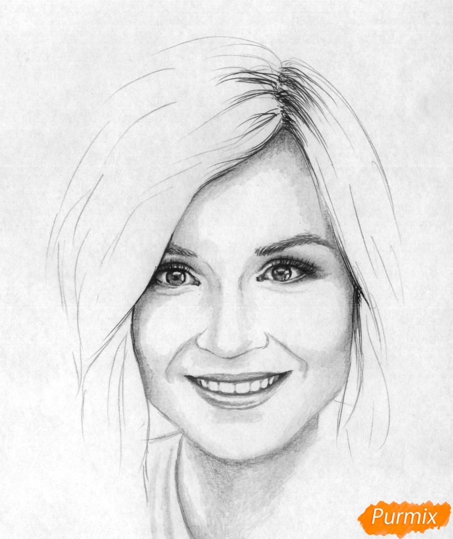 Рисуем портрет Полины Гагариной на бумаге - фото 4