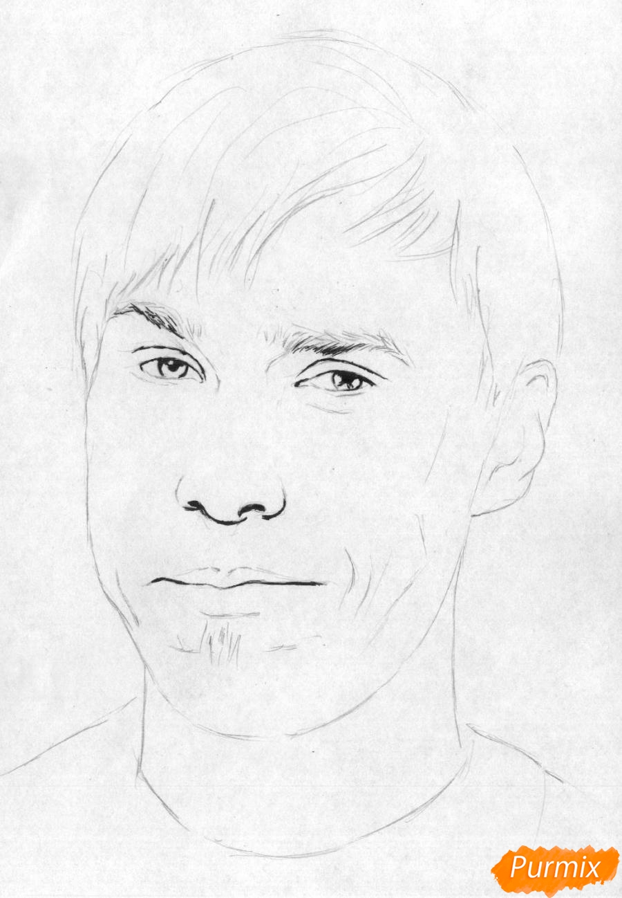 Рисуем портрет Стаса Давыдова - шаг 2