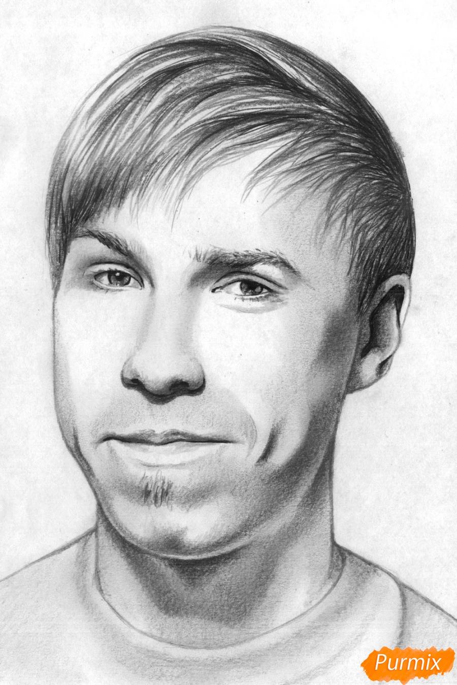 Как нарисовать портрет Стаса Давыдова карандашом поэтапно