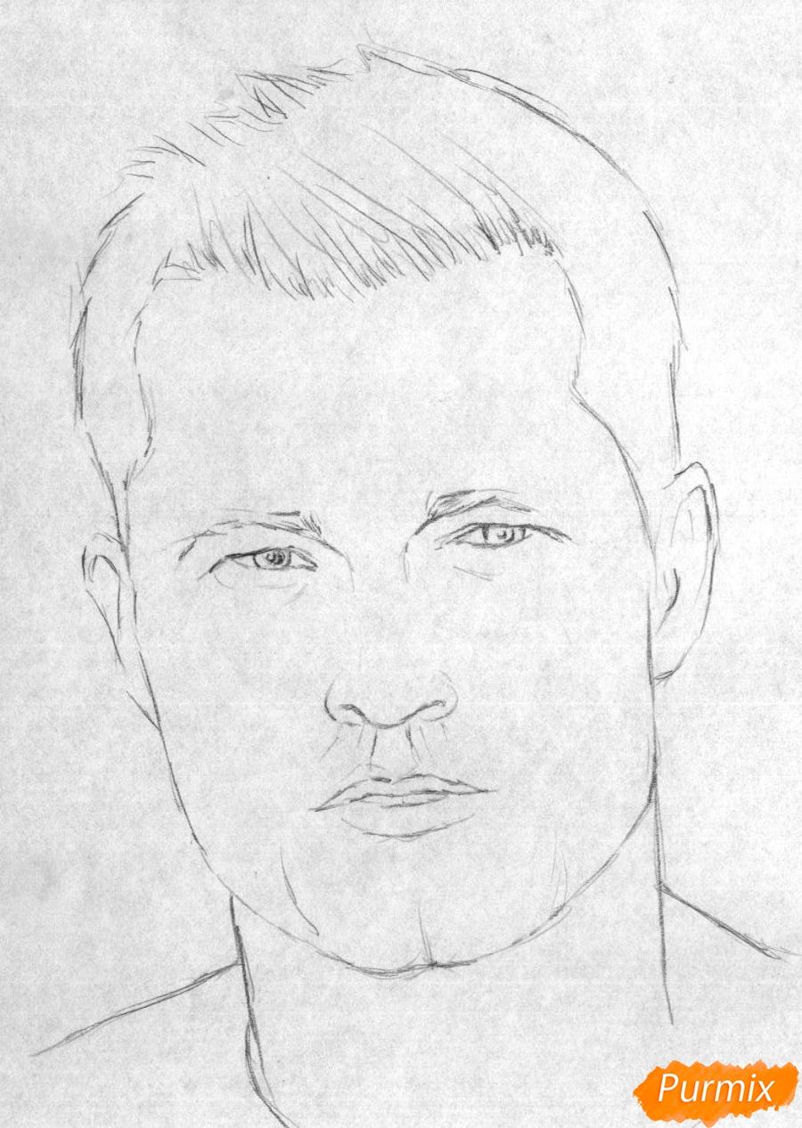 Рисуем портрет Тиль Швайгера карандашами и чёрной ручкой - шаг 1