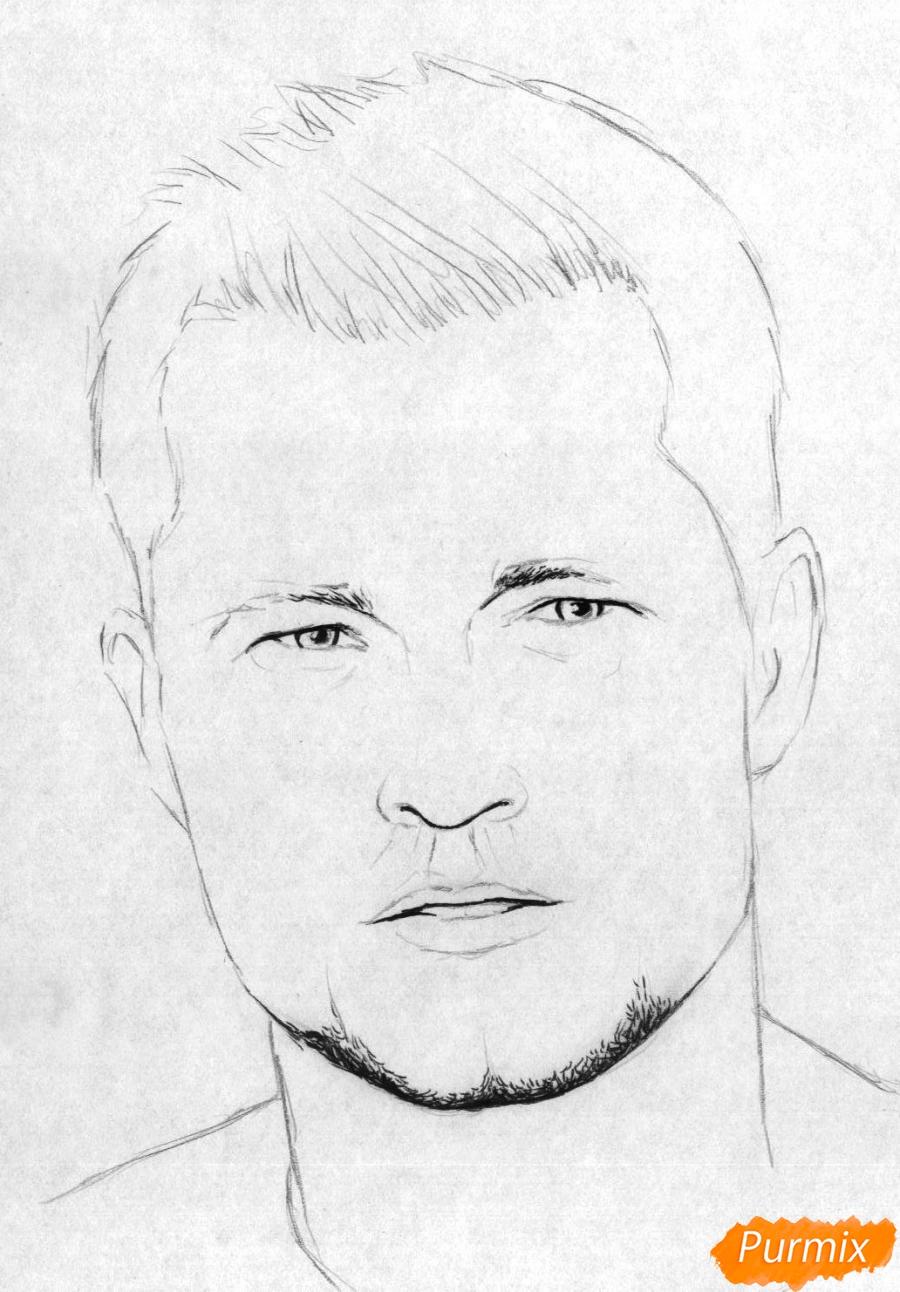 Рисуем портрет Тиль Швайгера карандашами и чёрной ручкой - шаг 2