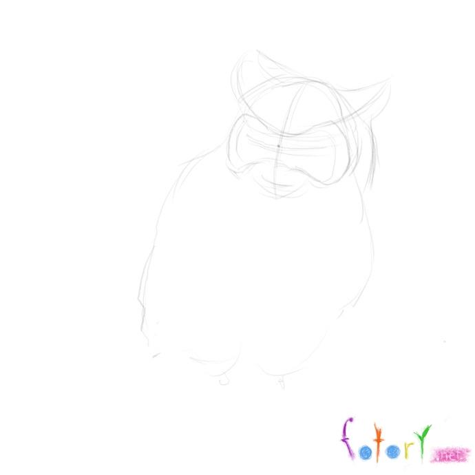 Рисуем реалистичную сову (филина) - шаг 2
