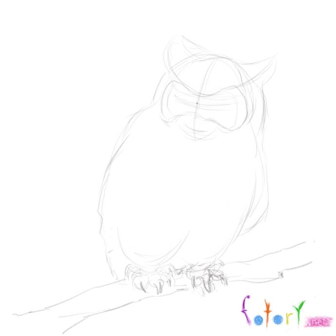 Рисуем реалистичную сову (филина) - шаг 3