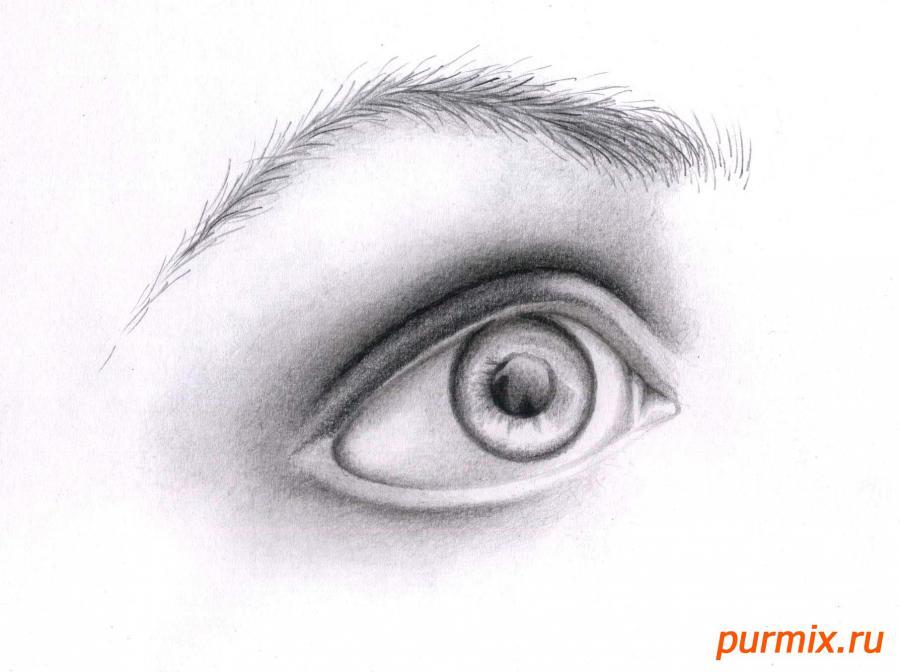 Рисуем глаз девушки - шаг 7