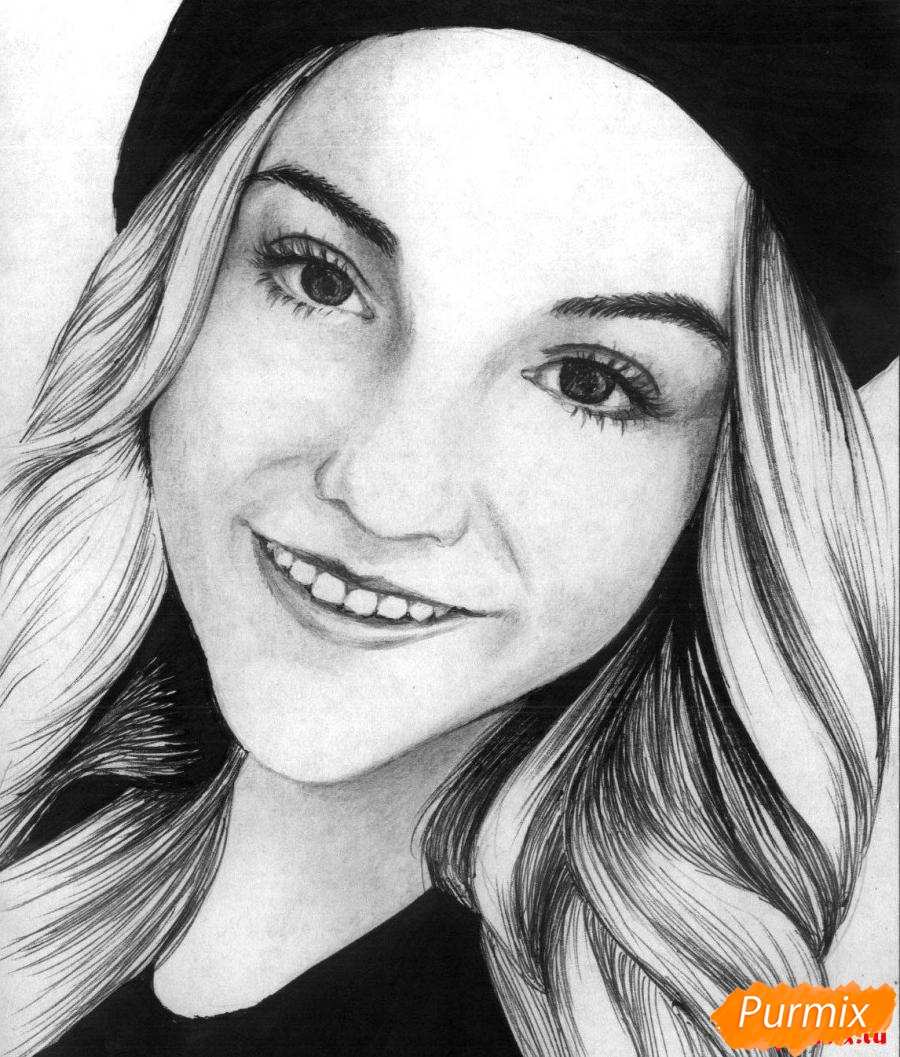 Рисуем портрет Марьяны Ро простым - шаг 4