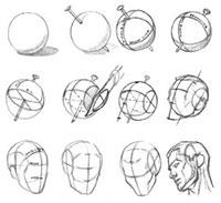 Рисование основной формы головы