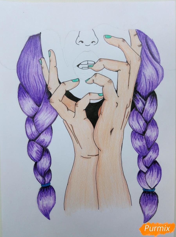 Рисуем девушку с косичками цветными карандашами - шаг 5