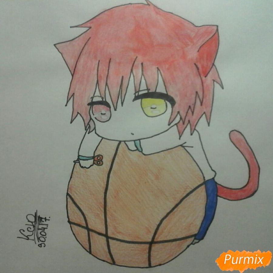 Как нарисовать чиби Акаши Сейджуро в виде кота карандашами поэтапно