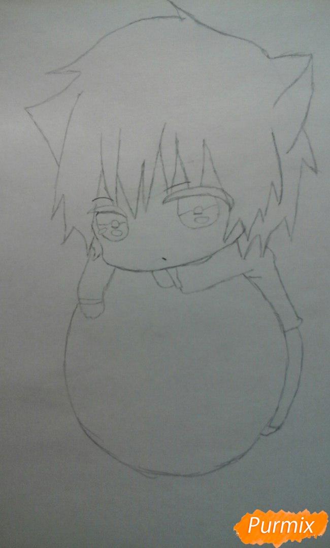 Рисуем чиби Акаши Сейджуро в виде кота карандашами - шаг 5