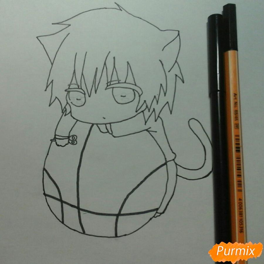 Рисуем чиби Акаши Сейджуро в виде кота карандашами - шаг 7