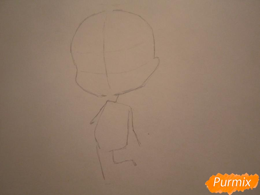 Рисуем акварелью милую чиби девочку - шаг 1