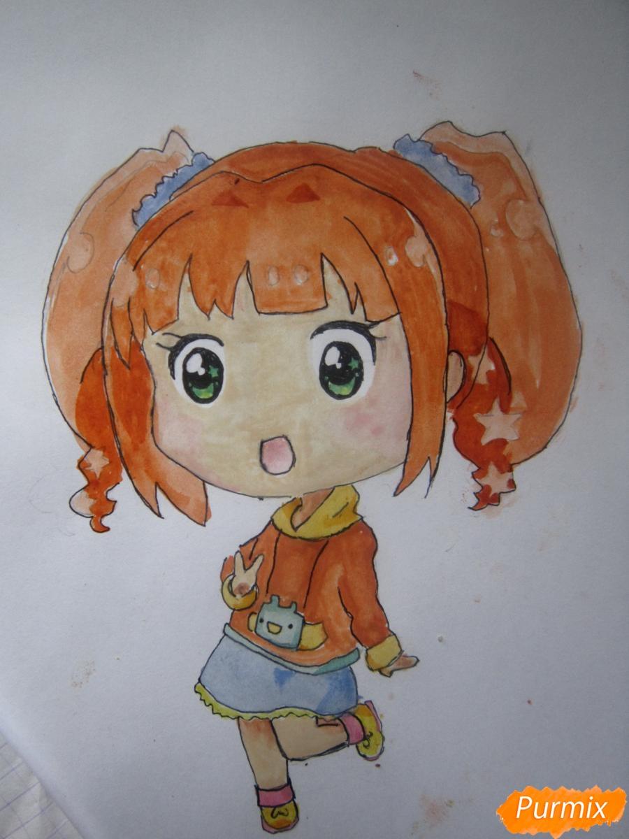 Рисуем акварелью милую чиби девочку - шаг 13