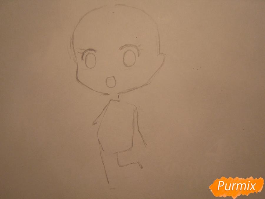 Рисуем акварелью милую чиби девочку - шаг 2