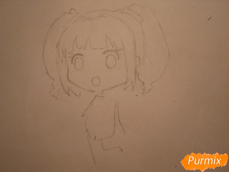Рисуем акварелью милую чиби девочку - шаг 3