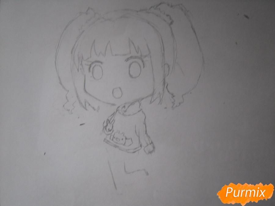 Рисуем акварелью милую чиби девочку - шаг 4