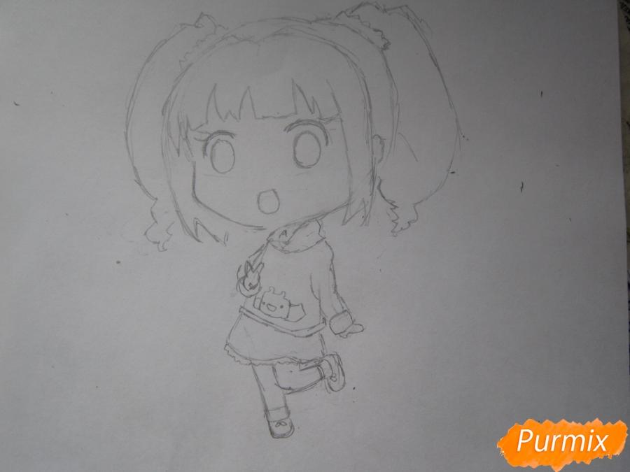 Рисуем акварелью милую чиби девочку - шаг 5