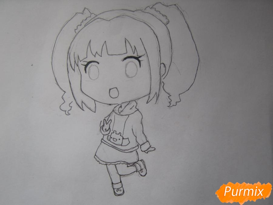 Рисуем акварелью милую чиби девочку - шаг 6