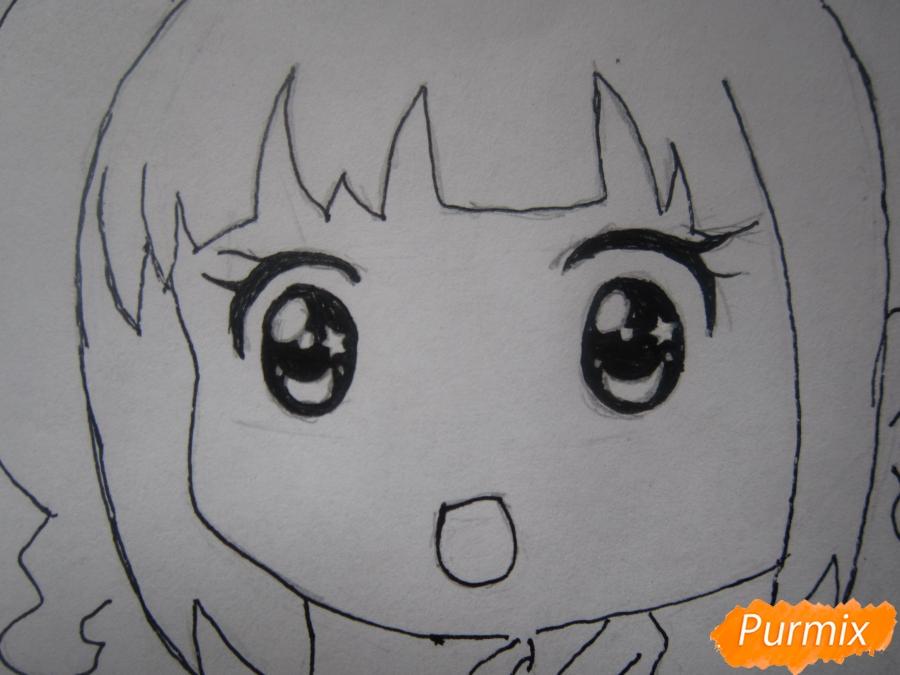 Рисуем акварелью милую чиби девочку - шаг 7