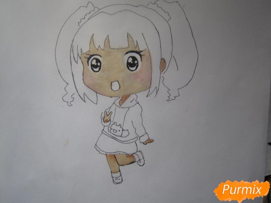 Рисуем акварелью милую чиби девочку - шаг 8