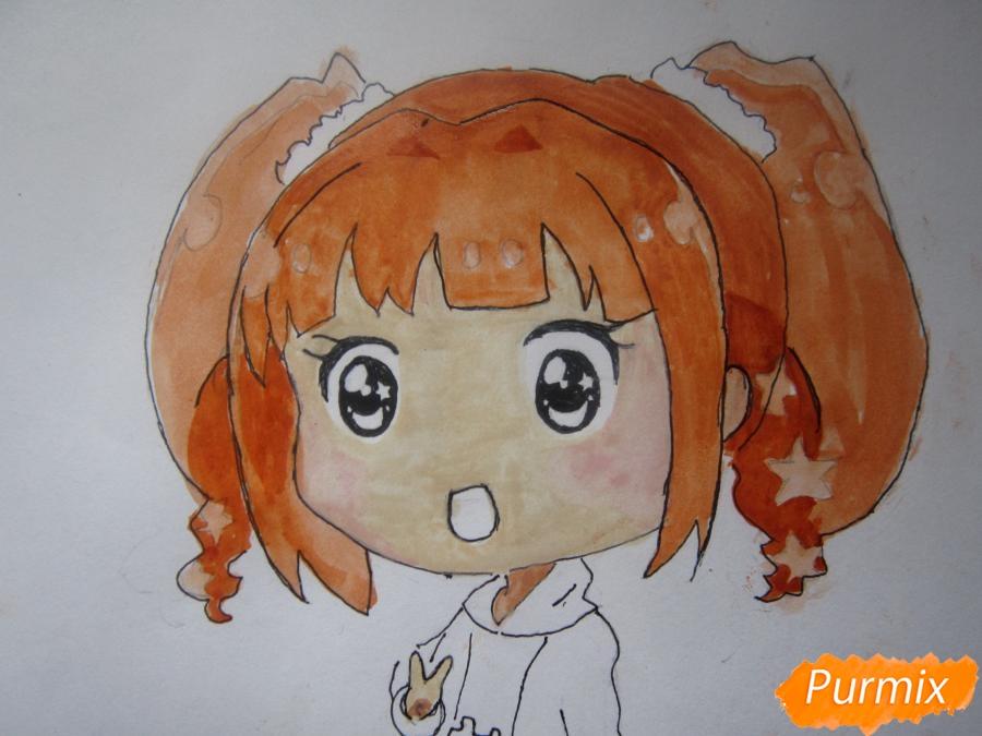Рисуем акварелью милую чиби девочку - шаг 9